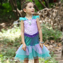 Girls Mermaid Princess Dress Sleeve Children's Day Performance Cosplay Costumes Dresses For Kids Baby Halloween Clothing цена в Москве и Питере