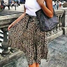 Женская плиссированная юбка Simplee, винтажная юбка с леопардовым принтом в стиле панк рок, Корейская уличная юбка средней длины на завязках с эластичным поясом