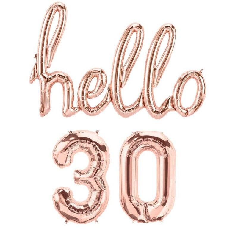 Or Rose bonjour 30 ballons en aluminium numéro 18 20 21 30 40 50 60 70 décoration de fête danniversaire gonflable Air Globos