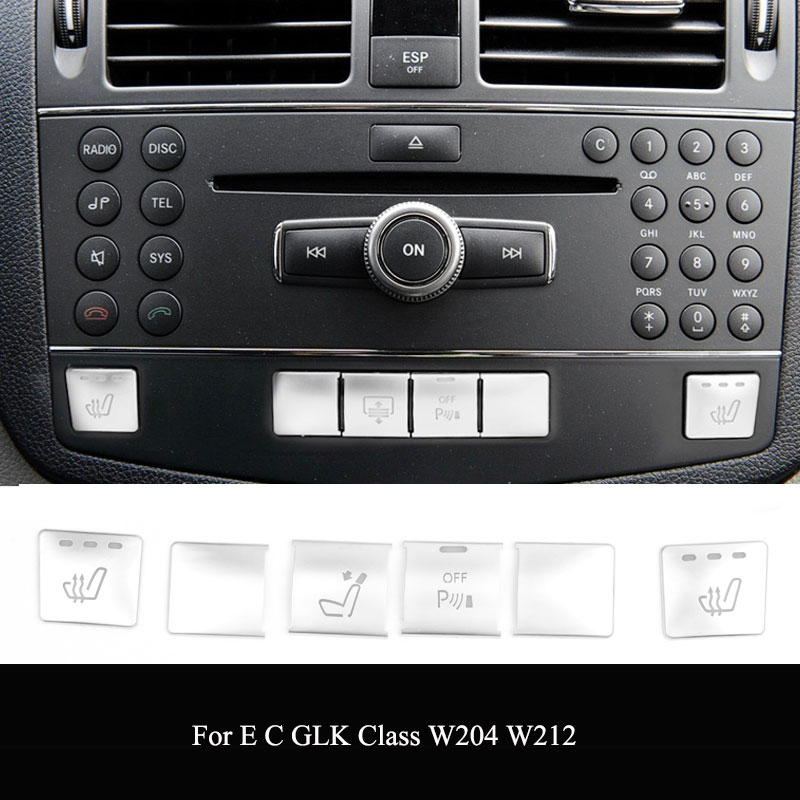 ABS For Mercedes Benz C E GLK Class W204 W212 Console CD Panel Switch Button Sequins Cover Stickers Car interior Accessories