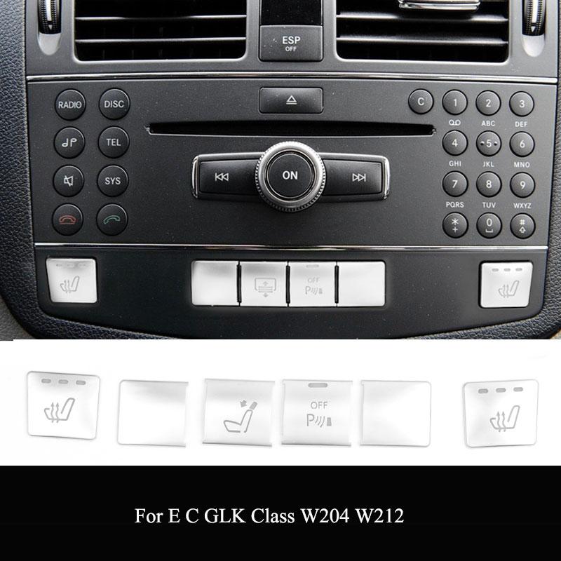 ABS Mercedes Benz C E GLK sınıfı W204 W212 konsolu CD paneli anahtarı düğmesi Sequins kapak çıkartmalar araba iç aksesuarları