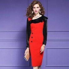 2020 bureau dame nouveau solide mode imprimer robe élégante femmes printemps automne longueur moyenne patchwork mince professionnel jupe XXXL