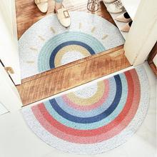 Радужный мультяшный песочный коврик для входной двери, коврик для приветствия, коврик для прихожей и ванной, нескользящий коврик для удален...