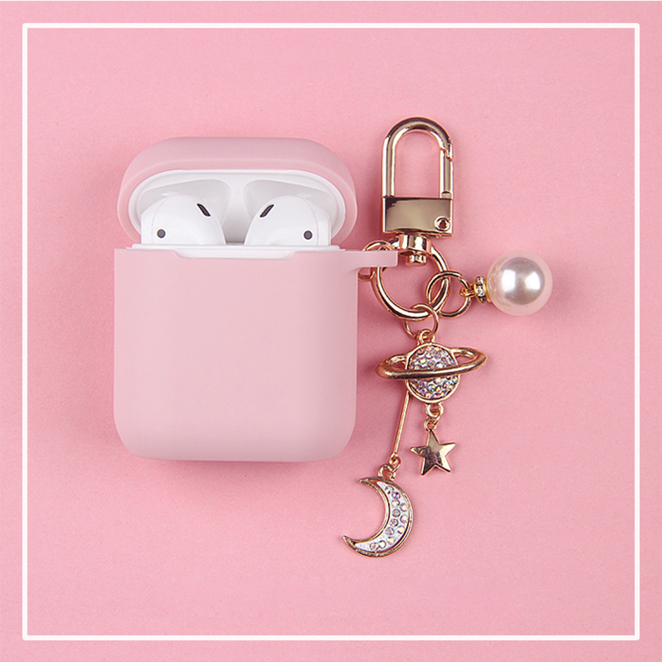 Luxury Diamond Moon Star Cosmic Silicone Case for Apple Airpods 1 2 Case Accessories Protective Cover Bluetooth Earphone Case