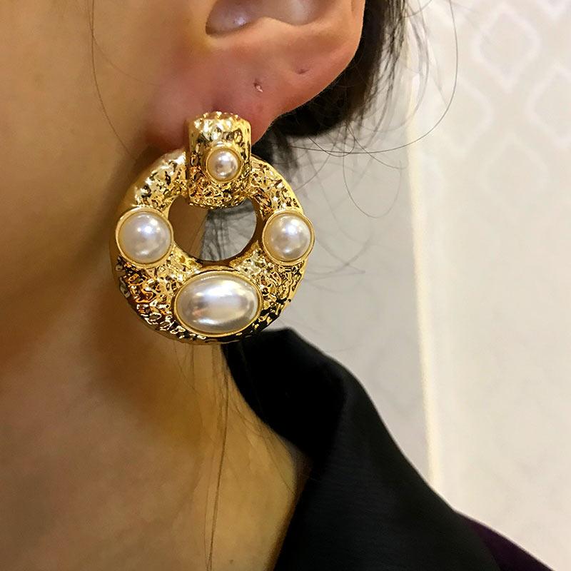 Flatfoosie Fashion Earrings For Women Gold Metal Drop Dangle Earrings Vintage Statement Round Simulated Pearl Earrings Jewelry