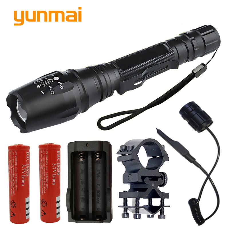 yunmai V5 CREE XHP50 tactical powerful hunting LED Flashlight Torch  XM-L2 U3 Zoom For 2x18650 battery Linternas