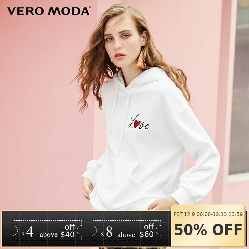 Vero Moda 2019 New Women's Letter Print Cotton Drop-shoulder Sleeves Leisure Hoodie   318433507