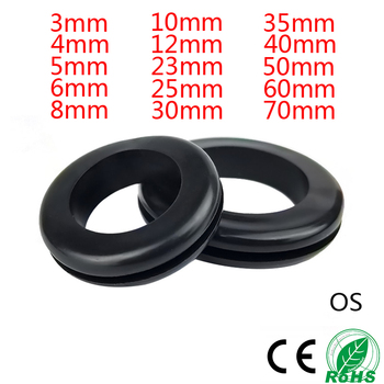 цена на 50-100PCS 3/4/5/6/7/8/10/12/14/16/18/20/25mm Inner Diameter Cable Wiring Rubber Grommets Gasket Ring Wire Protective Loop Washer