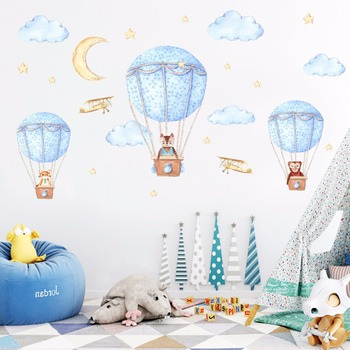 Cartoon Hot air balloon series Wall Stickers Kids room Kindergarten Baby room Wall Decals Eco-friendly DIY Art Vinyl Murals 9