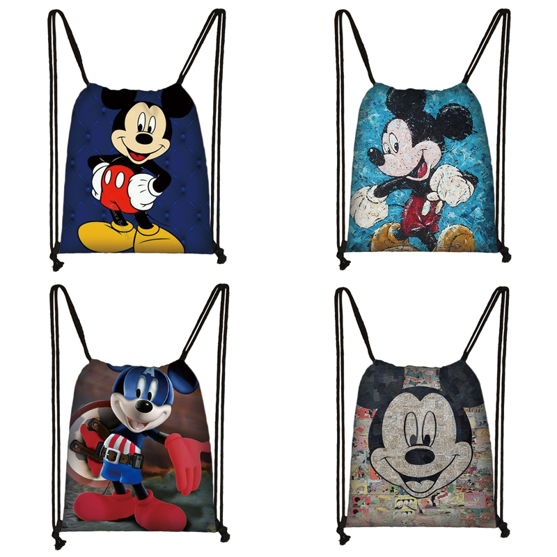 Mickey Minnie Print Drawstring Bag Women Travel Bag Teenager School Bag Brown Girl And Boy Backpack Fashion Female Storage Bag Q