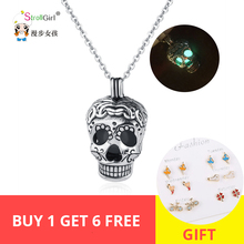 New 100% Authentic 925 Sterling Silver Cool Chain Skull glowing Pendant Necklaces for Women 2019 Fashion DIY Jewelry Gift