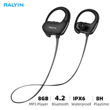 8GB Music player Bluetooth headphone waterproof 8GB wireless earphone sport bluetooth headset 10 hours mp3 with micphone(China)