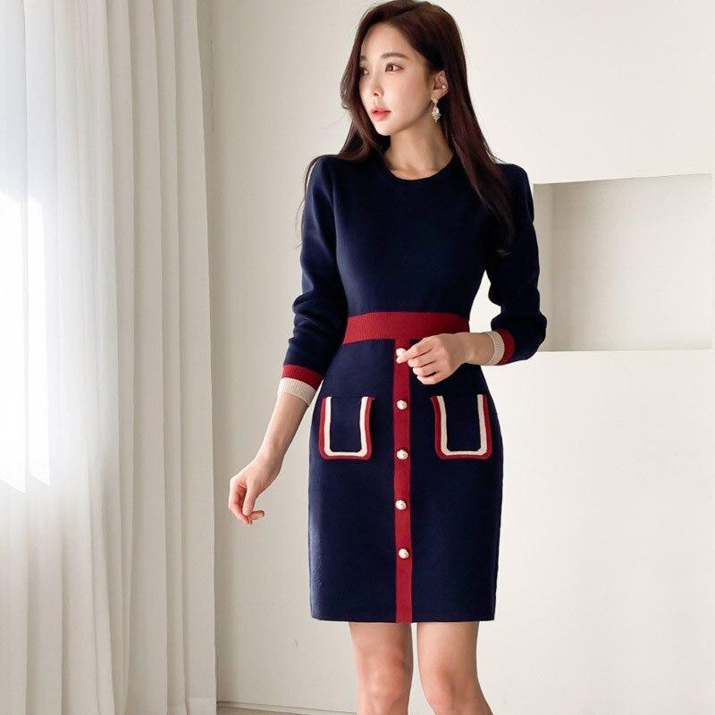 Elegant Contrast Color Women Knitted Dresses Female O Neck Long Sleeve Dress 2020 New Autumn Winter Slim Dresses Vestidos Cortos