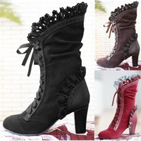 Steampunk Women Sexy Lace Up Heel Knee High Leather Suede Boots Vintage Gothic Lace High Heel Boots Cosplay Autumn Boots Shoes