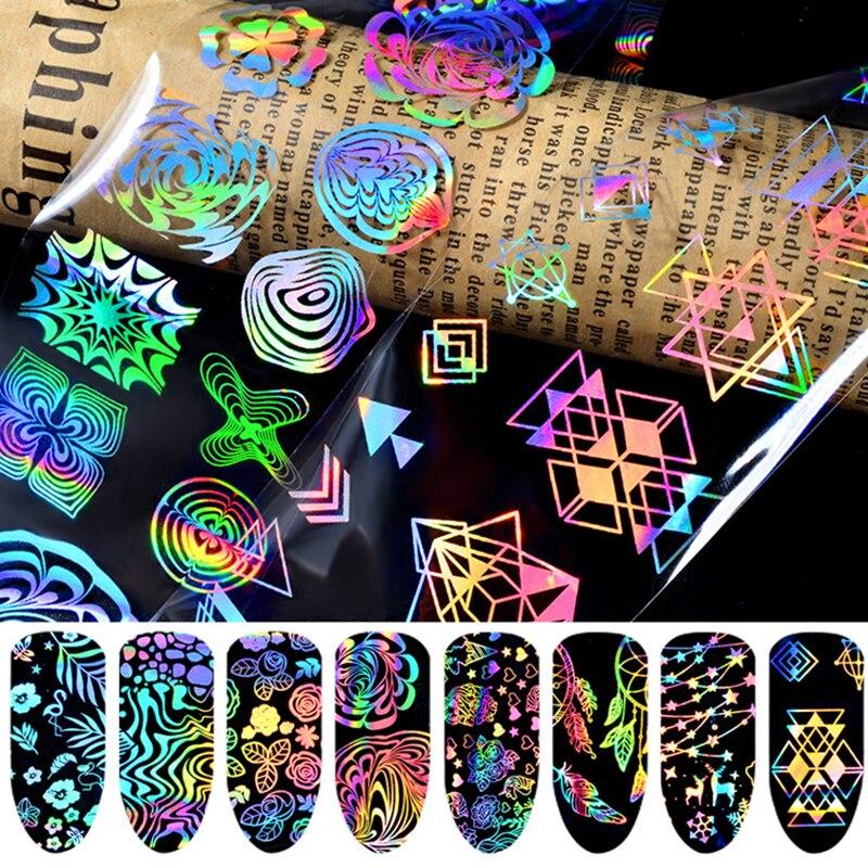 Новая мода, 8 штук, 3D Смешанные Лазерные Звездные узоры, наклейки для ногтей, набор аксессуаров для ногтей, долговечные украшения для ногтей ...