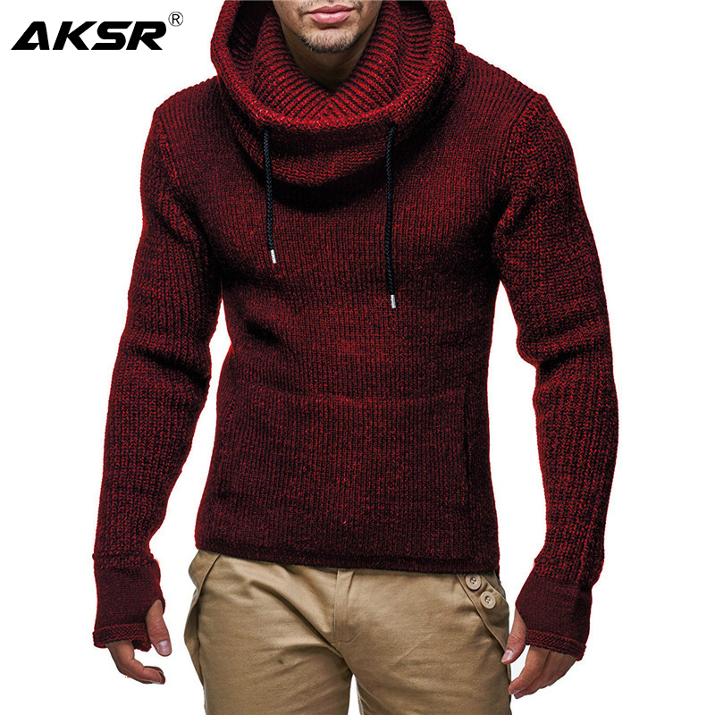 AKSR Autumn And Winter Causal Warm Men Winter Hooded Sweater Long Sleeved Hooded Mixed Color Thicken Coats Sweaters For Men