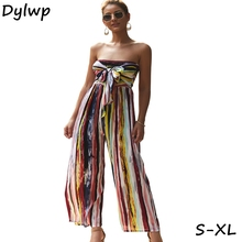 цена на Fashion Colorful Stripe Print Jumpsuit Women 2019 Summer Casual  Sexy Tube jumpsuits Female Front Bow Tie Wide Leg Jumpsuit