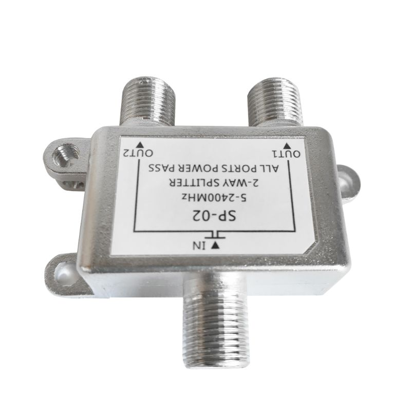 5-2400MHz 2 Way HD Digital Coax Cable Splitter Bi-Direction Satellite TV Signal Receiver Connector For SATV/CATV