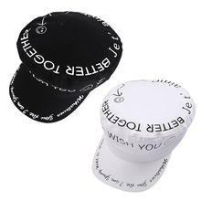 Japanese Harajuku Retro Flat Beret Cap Women Men Black White Graffiti Letters Smile Face Print Hip Hop Visor Peaked Navy Hat