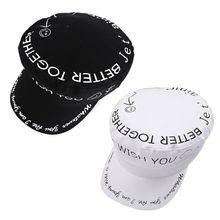 купить Japanese Harajuku Retro Flat Beret Cap Women Men Black White Graffiti Letters Smile Face Print Hip Hop Visor Peaked Navy Hat по цене 230.56 рублей