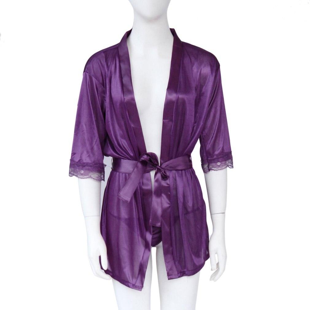 1 Set Sexy Lace Sleepwear Nightdress Babydoll Lingerie Robe+G-string Satin Pajamas Underwear