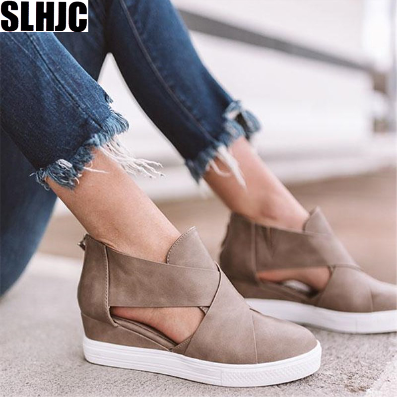 SLHJC Summer Autumn Pumps Med High Wedges Shoes Inner Heel Height Increasing Pointy Toe Side Empty Hollow Plus Size Sandals 2019