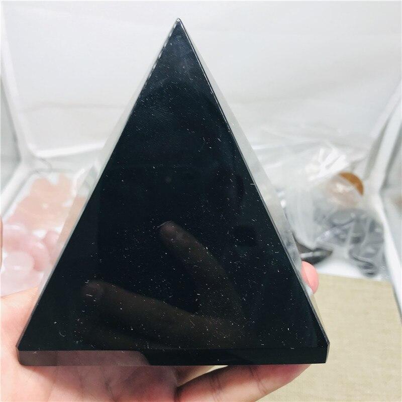 Cristaux de Quartz pyramide en obsidienne | Cristal naturel noir, cristal de guérison pour artisanat, pierres de Surface et cristaux lustrés pour la décoration