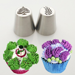 1Pc Stainless Steel Cake Nozzles Christmas Tree Leaf Pattern Baking Pastry Tips Cake Decorating Tools