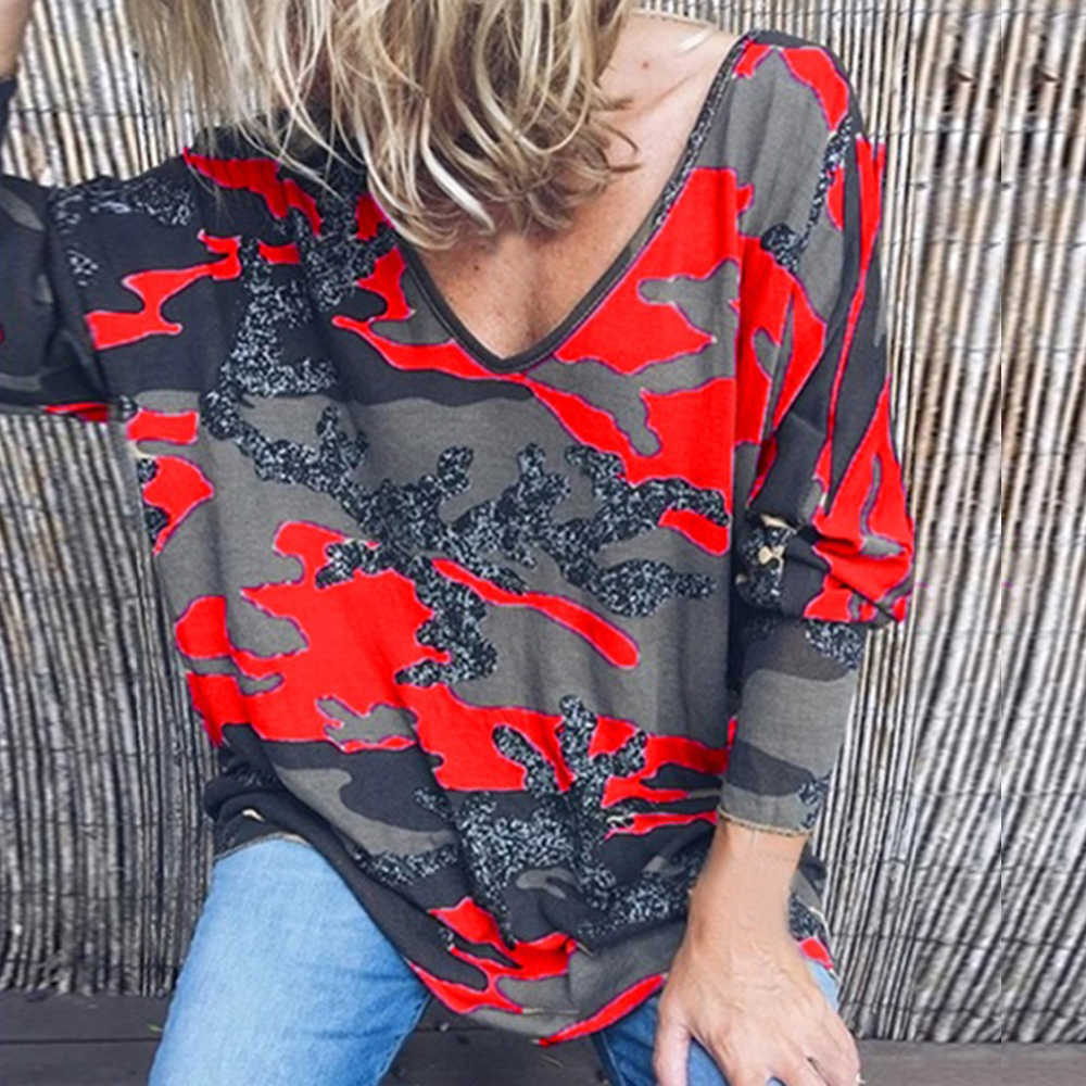 CALOFE 2019 秋の新到着プリント Tシャツ女性ルース V ネック長袖 Tシャツカジュアルトップスファムストリート Mujer 特大 5XL