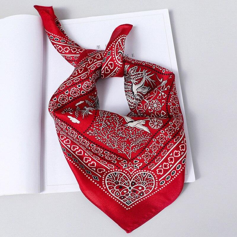 Women's Handkerchief, Top Grade Oriental Silk Square Scarf, Plain Crepe Satin Silk Printed Square Scarf For Women, 52 * 52cm