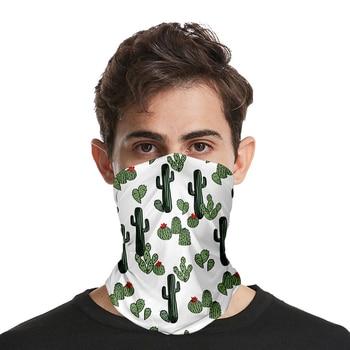 Cactus And Flower Print Fashion 3D Seamless Face Mask Motorbike Headwear Magic Scarf Outdoor Cycling Fishing Ski Hiking Bandanas