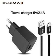 PUJIMAX USB Charger with 1M cable For iPhone 5V 2.1A Wall/Travel Portable Mobile Phone Charging Adapter Samsung