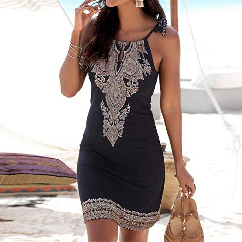 Beach Dress 2019 New Women Summer Dress Halter Neck Boho Print Sleeveless Casual Mini Beachwear Dress Sundress Plus Size