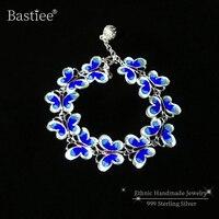 Blue Butterfly 999 Sterling Silver Bracelets For Women Cloisonne Enamel Bracelet Femme Luxury Jewelry Vintage Charm pulseiras