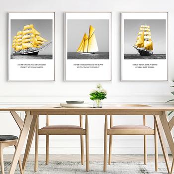 Styl skandynawski złoty łódź krajobraz morski kreatywny druk na płótnie obrazy obrazy na ścianę F salon Home Decor nostalgiczny 5-74 tanie i dobre opinie ENJOY-MAGIC Wydruki na płótnie Pojedyncze PŁÓTNO Wodoodporny tusz Portret bez ramki Realist oil pictures Malowanie natryskowe