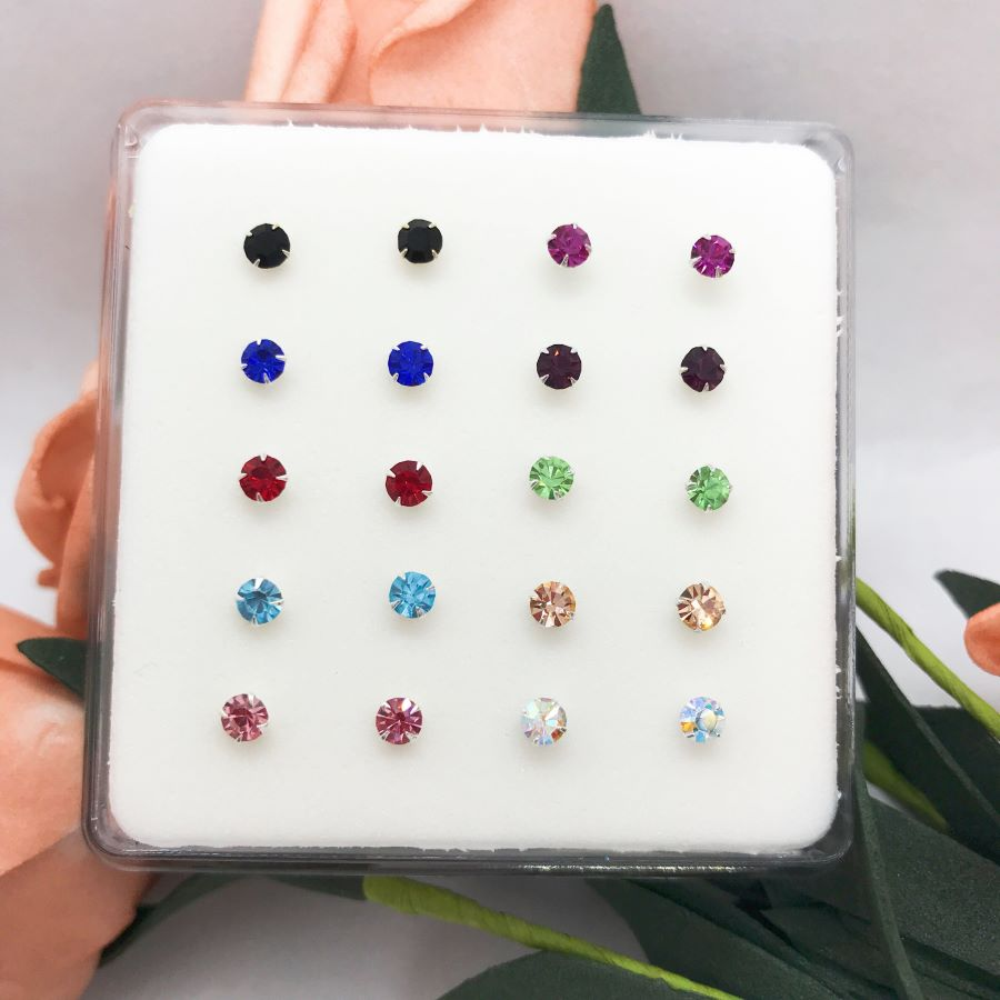 fashion jewelry nose studs Pack of  20pcs 925 sterling silver big size 3mm crystal white /multi color nose pin-1