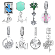 Beads 100% 925 Sterling Silver Glamour Trio Hope Tree Mom Leaves Love My Dog Curious & Playful Dolphin Half Daisy Charms