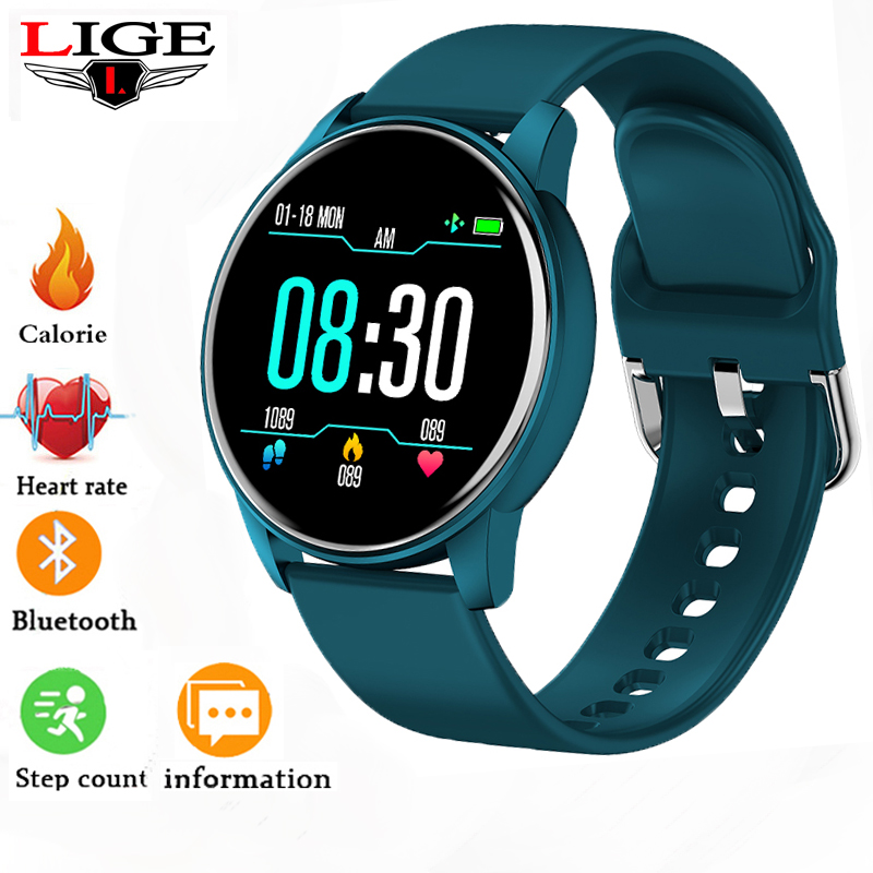 LIGE Fashion Sports Smart Watch Women Men Fitness tracker Heart rate monitor Blood pressure function smartwatch man For iPhone Women's Watches     - title=
