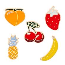 Watermelon Kiwi Strawberry Orange Banana Pineapple Cartoon Fruit Fashion Brooches For Women And Kids pineapple and watermelon print tee