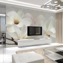 Modern Simple Wall Paper 3D White Flower Photo Mural Wallpap