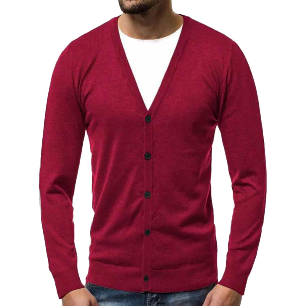 Men's Cardigan Sweater Jacket Autumn And Winter Warmer V-Neck Button Knit Cardigan Button Knit Sweater Top Y11.21