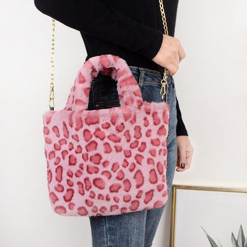 Fashion Faux fur large-capacity fashion leopard bag women's one-shoulder messenger handbag bag plush bag