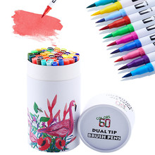 60 cores marcadores de arte dupla dicas fineliner desenho aguarela barreled marcador de água para caligrafia escova caneta conjunto
