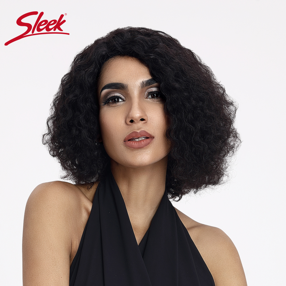 Sleek 10 Inch Short Human Hair Wig TT1B27 Brown Black Root Ombre Color Water Wave Fluffy Soft Curl Human Hair Wigs Part Lace Wig
