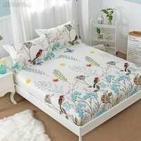 Gran venta de pájaros florales sábana 100% algodón Funda de colchón esquina con lámina de cama de banda elástica 120x200cm /150x200 cm/180x200 cm