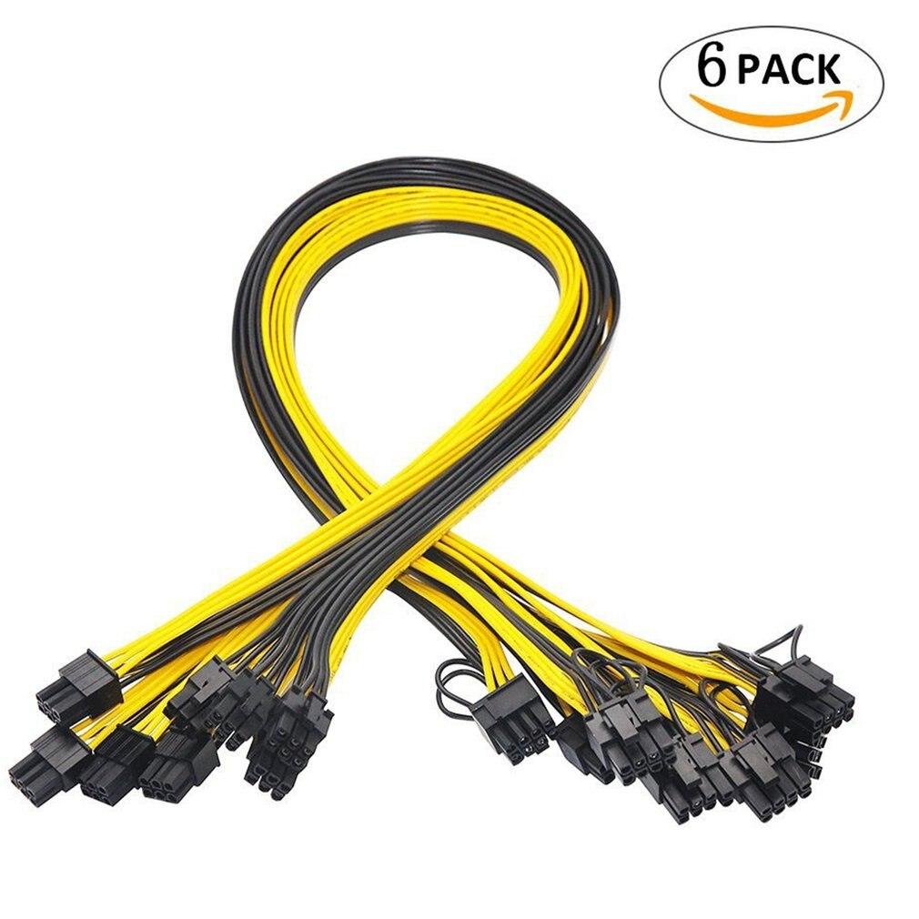 6 шт. 6 Pin PCI-E до 8 Pin(6 + 2) PCI-E (штырь-штырь) силовой кабель для графического процессора 50 см для карт изображения, доска для разрыва сервера майнин...