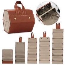 Draagbare Glazen Organizer 2/3/4/5/6 Multi-Slot Brillen Opslag Display Reizen Vouwen Zonnebril Pu leather Case