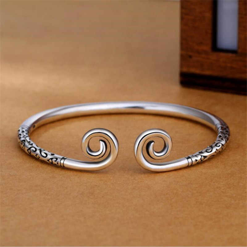 New Beautiful Exquisite Wukong's Weapon Female Bracelets 925 Sterling Silver Jewelry Tight Spell Cursive Bangles SB201