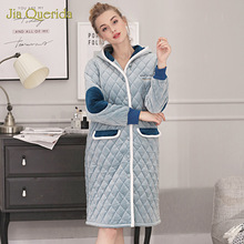 Velvet Robe Plus Size Winter Women's Nightgown Long Sleeves Hooded Cute Dogs Embroidery Chic Housecoat Diamond Fleece Robes New
