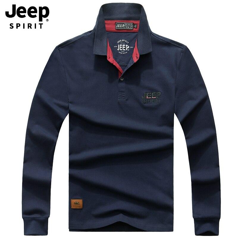 JEEP SPIRIT Brand Autumn   Polo   Shirt Men Long Sleeve Turn Down Collar Casual Cotton Men   Polo   Shirt camisas   polo   hombre